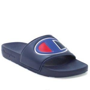 Champion navy blue red white slides mules sandals